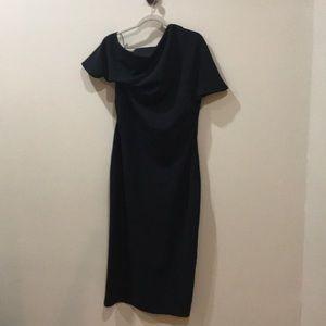 ASOS dress size 12 black asymmetrical sleeves NWT